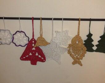 Crocheted Christmas tree decorations.Handmade christmas decorations.