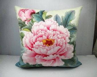Decorative Velvet Pillow Cushion Cover Peony Flower Double Sides Pink Peony Blue Background