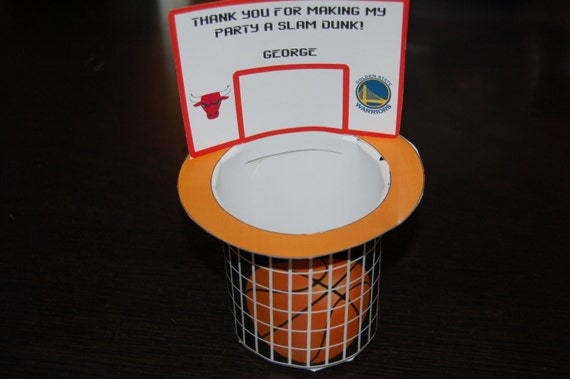 Basketball hoop net favor box personalized diy printable for How to build a basketball goal