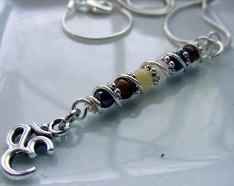OM 7 Chakra Pendant, Wire Wrapped, Gemstones, Balance, Harmonize Energy Centers, Chakra Jewelry, Reiki Jewelry