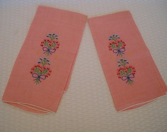 Vintage Embroidery Tea Towel Pair, Pink Kitchen Towels, Tea Towels, Valentine's Day