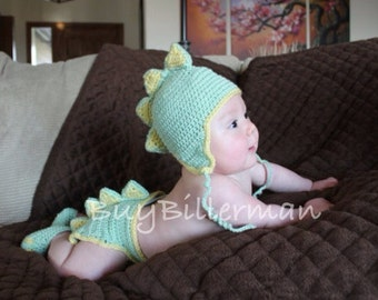 Crocheted Newborn Baby Dinosaur Hat  and Diaper Cover Set Photo Prop