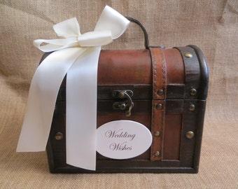 Pick your colors - Small Wedding Wishes Trunk, Wedding Advice Box, Guest Book Alternative, Wishing Well, Wedding Wish Box, Rustic Wedding