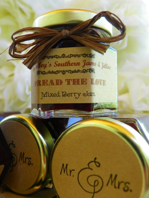 Bourbon Cherry Vanilla Spring Wedding Favors - 50 (2oz) jars with personalized label and colored raffia ribbon Pus, FREE 4oz jar of jam