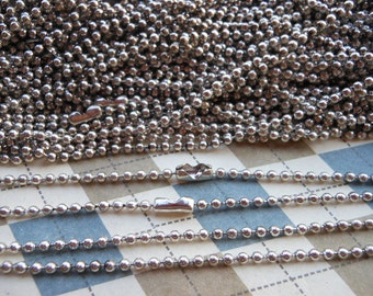 SALE--20 White K Ball Chain Necklaces - 27inch, 2.0 mm