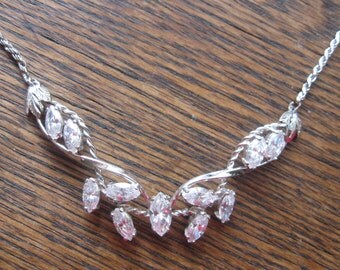 Sterling Silver Rhinestone Necklace with Leaves