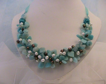 Amazonite and freshwater pearl wire twist bib necklace