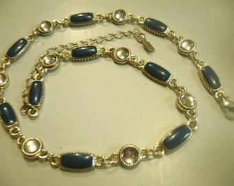 VTG Mid Century Enamal Blue and Crystal Necklace Signed FI