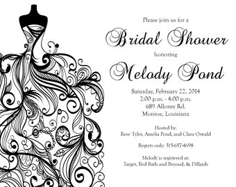 Wedding Gown  Bridal Shower Invitation