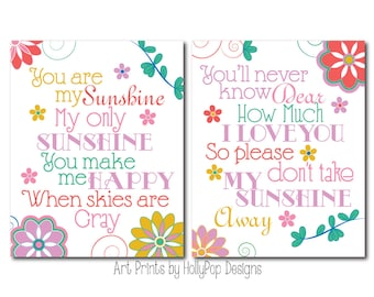 You are My Sunshine Wall Decor Bright Colorful Wall Art For Kids Girls Room Art Prints Princess and the Pea Land of Nod Inspirational Song