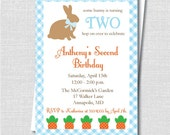 Blue Bunny Birthday Invitation - Some Bunny Theme - Easter or Spring Birthday Invite - Digital Design or Printed Invitations - FREE SHIPPING