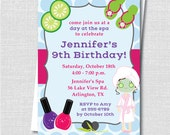 Kids Spa Birthday Party Invitation - Spa Theme Party - Digital Design or Printed Invitations - FREE SHIPPING
