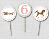 Personalized Shabby Chic Horse Party Cupcake Toppers - Cupcake Topper/Wrapper Set - DIGITAL DESIGN