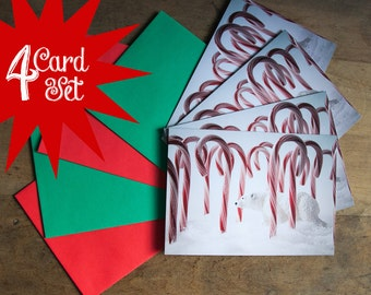 Set of 4 Photo Christmas Card - Polar Bear Lost in Candy Canes