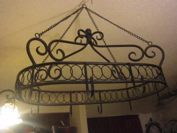 vintage black wrought iron pot hanger for by bbsbrassandbounty