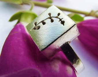 Wildflower ring, sterling silver ring, Foxglove, handcut ring, flower, square ring, unusual ring, gift, chunky ring, handmade jewellery,