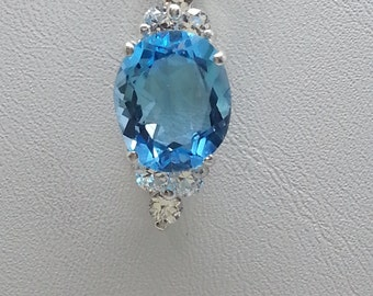 6.80ct Oval Swiss Blue Topaz & Sapphire Sterling Silver Necklace