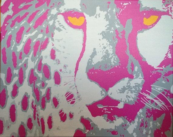 "Cheetah Custom Pop Art Painting 16""x20"" Canvas"