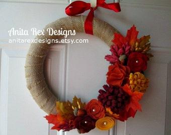 Fall Wreath, Burlap Wreath, Fall Burlap Wreath, Leaves Wreath, Red, Orange, Yellow, Ruby Felt Flower Wreath, Fall Decor
