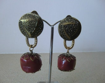 clip on  earrings, gold and brick