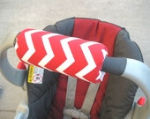 Reversible Car Seat ARM PAD Handle Cushion - Cute Red Chevron, Zig Zags Stripes