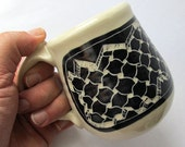 Large Mug with Black and White Sgraffito Design