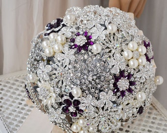 wedding brooch bouquet silver purple