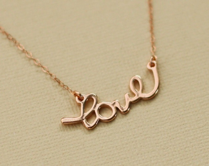Rose Gold Love Necklace - Rose gold filled chain