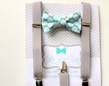 Mint Polka Dot Bow Tie with Gray Suspenders..baby boy bow tie..ring bearers..groomsman..cake smash..suspenders..bow tie..boy outfits..summer