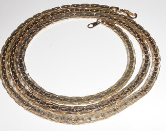 Vintage Serpentine snake chain necklace gold tone chunky 1950s