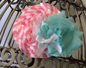 Flower hair clip, pink, white, aqua hair clip, girls hair clip, chevron hair flower, flower hair clip, boutique hair clip, hair accessory