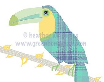 Tucan - Limited Edtion Fine Art Print - Digital Painting - Whimsical, Cute, Tropical, Blue, Orange, Rainforest, Bird