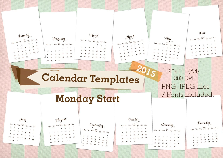 Calendario Anno 2015 Mensile.Calendario Stampabile 2015 Lunedi Inizio Dieta Plantadocdi Ml