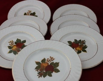 7 Vintage Wedgwood Autumn Tea Party Plates, English Harvest Salad Plates Dessert Plates , Cottage Style Shabby Chic Table Home Decor