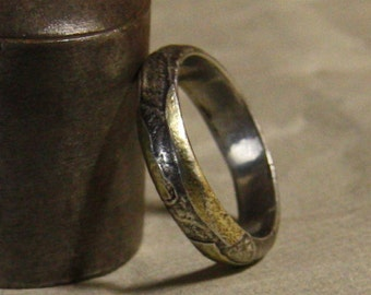 Mans wedding band of 18kt gold and sterling silver - man's engagement ring - man's wedding ring