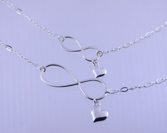 Infinity necklace, Mother Daughter Infinity necklace set, Sterling silver infinity necklace, Infinity andheart charm necklace