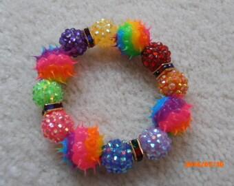 RAINBOW DISCO FEVER Beaded Rubber Spike Bracelet
