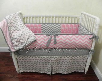 Custom Crib Bedding Set Hailey - Pink and Gray Girl Crib Bedding, Giraffe Baby Bedding, Girl Crib Bedding