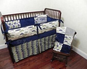 Custom Baby Bedding Set Wyatt - Boy Crib Bedding, Navy Crib Bedding, Vintage Cars and Trucks