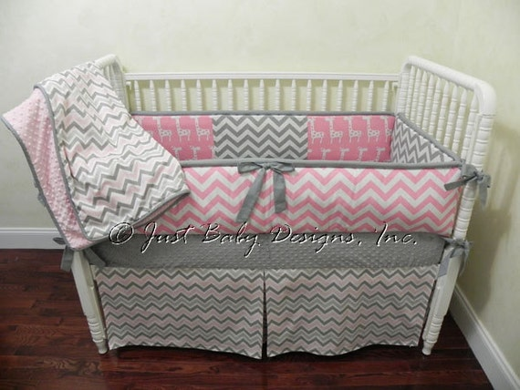 Custom Crib Bedding Set Hailey Pink And Gray Girl Crib