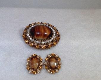 W. Germany Brown Brooch and Earrings