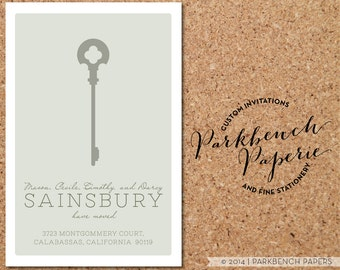 Moving Announcement - Vertical Sage Key - Personalized with your new address