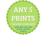 Choose ANY 5 Art Prints - Money saving offer - Choose your Size - Modern Retro discount sale Fine Art Print