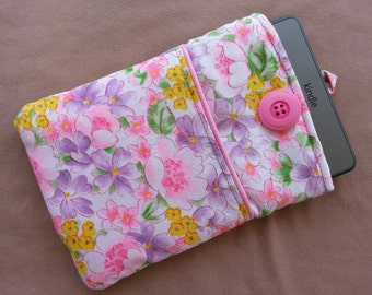 Kindle, Kindle Touch, Kindle Paperwhite Cover. Pink, lavender and yellow floral with front pocket, flannel lined, padded pouch sleeve case.