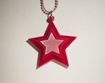 Cute Red 3D Star Necklace Kawaii Lolita Accessory