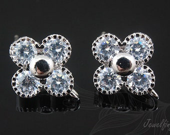 S223-10 pairs-Rhodium Plated-CZ clover