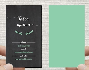 Chalkboard Business Card, Calling Card, Single or Double sided, Digital File ONLY. Custom colors