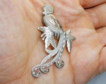 Vintage Coin Silver Guatemalan Quetzal Bird Pin Brooch