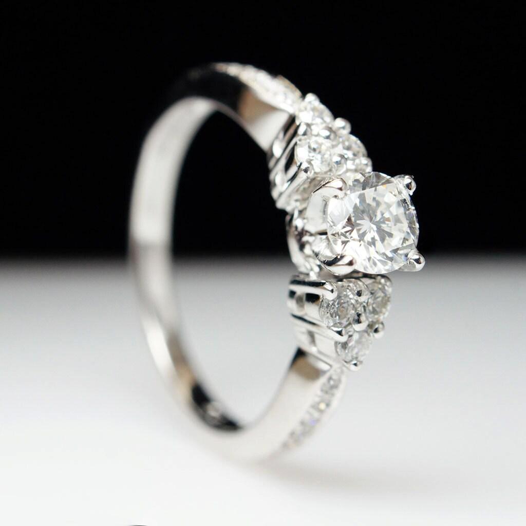 SALE – 14k White Gold Diamond Tri Stone Three Stone Engagement Ring & Wed