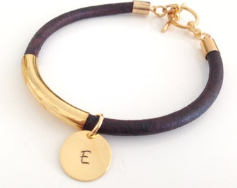 Personalized Leather And Gold Tube Bracelet